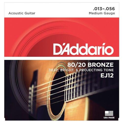 Струны для акустической гитары бронза Medium 13-56 D`Addario EJ12 BRONZE 80/20