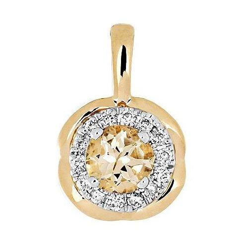 Эстет Подвеска с гелиодором и бриллиантами из комбинированного золота 01П669683Ж-2
