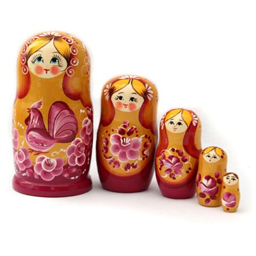 Матрешка MILAND Золотая, 5 кукол