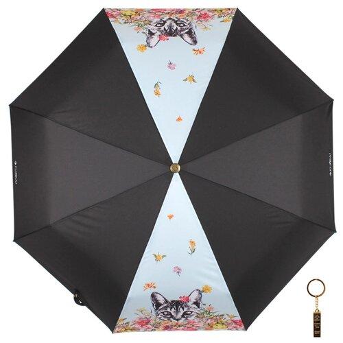Зонт автомат FLIORAJ Premium Золотой брелок Кот и цветы черный/голубой зонт автомат flioraj premium золотой брелок кошки черный