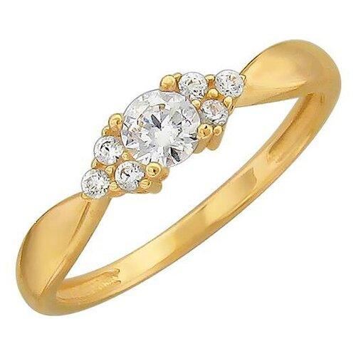 Эстет Кольцо с 7 фианитами из жёлтого золота 01К139307Ф, размер 18