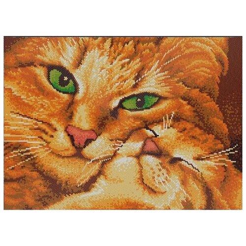 Кошка с котенком (рис. на сатене 29х39) (круговая техника) 29х39 Конек 9533, Конёк, Канва  - купить со скидкой