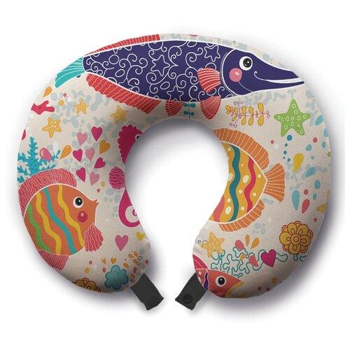 Подушка для шеи Ambesonne Яркие океанские жители, разноцветный
