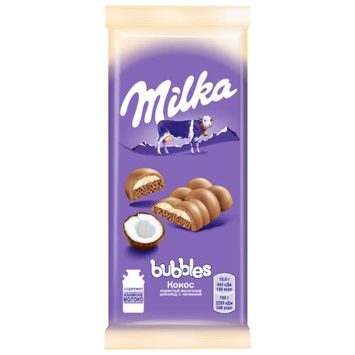 цена Шоколад Milka молочный пористый с кокосовой начинкой, 97 г онлайн в 2017 году