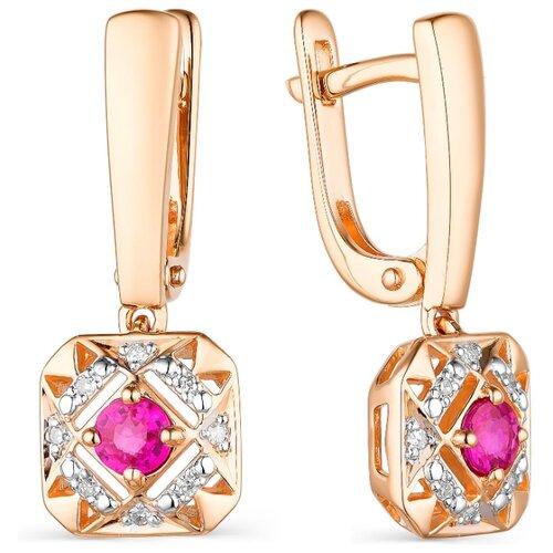 АЛЬКОР Серьги с рубинами и бриллиантами из красного золота 23520-103