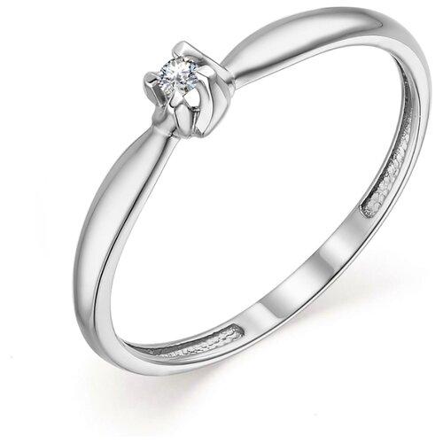АЛЬКОР Кольцо с 1 бриллиантом из белого золота 13618-200, размер 17 фото