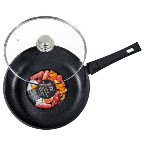 Сковорода Panairo Lordom LO-26-G-S 26 см с крышкой, съемная ручка, черный гранит