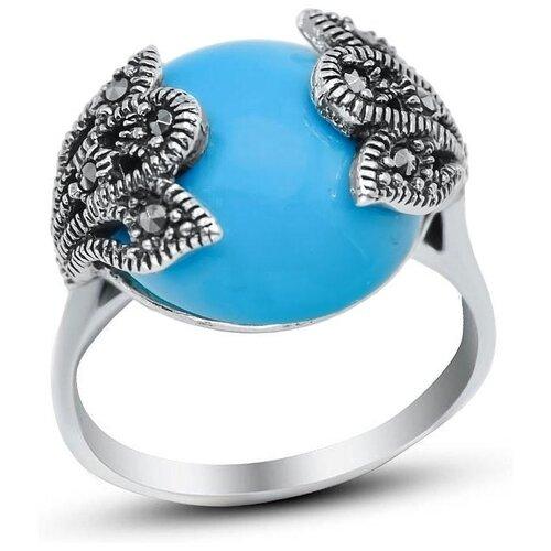 Silver WINGS Кольцо с марказитами и бирюзой из серебра 210020-39-228, размер 17.5 фото