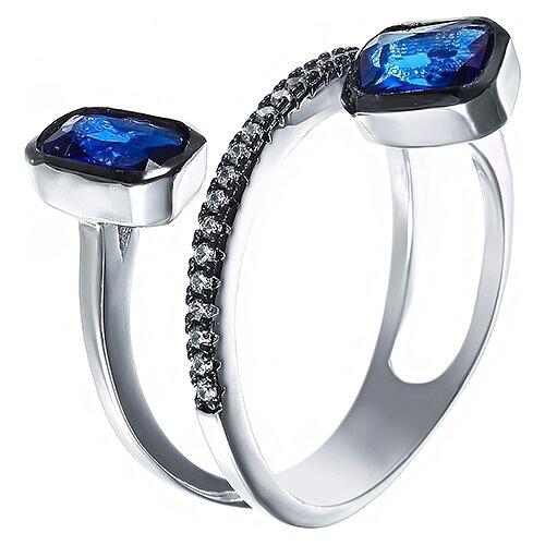 JV Кольцо с стеклом и фианитами из серебра R26994-H3-KO-001-WG, размер 16 jv кольцо с фианитами из серебра r27208 ko 001 wg размер 16
