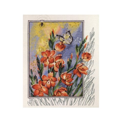Набор для вышивания Паучок, бабочка в цветах 40 х 47 см 70-4180, Permin, Наборы для вышивания  - купить со скидкой