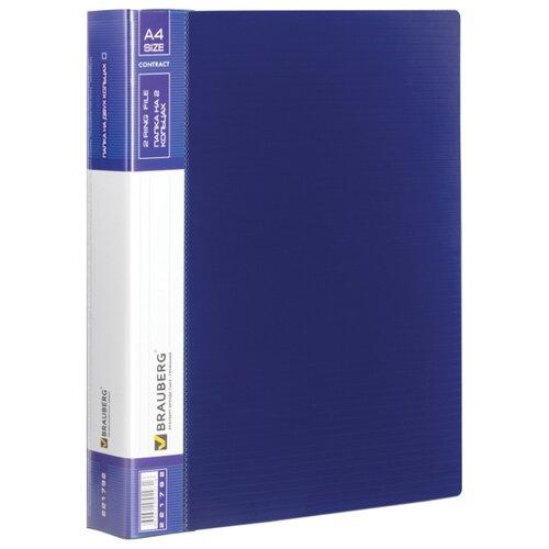 BRAUBERG Папка на 2 кольцах Contract A4, 35 мм Синяя папка brauberg a4 390x315x120mm black 223082