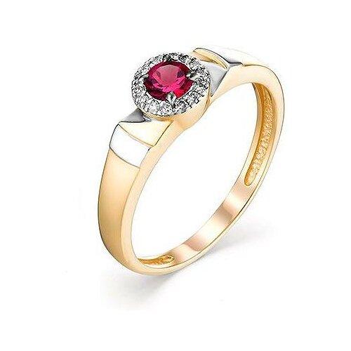 АЛЬКОР Кольцо с рубином и бриллиантами из красного золота 13081-103, размер 17