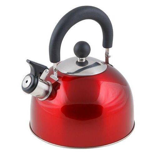 Чайник со свистком, нержавеющая сталь, 2.15 л, серия Holiday, красный металлик, PERFECTO LINEA (диаметр 19 см, высота 16 см, общий объем изделия 2,5л)