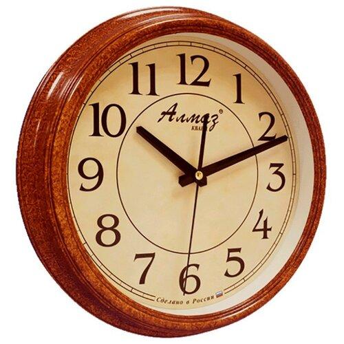Часы настенные кварцевые Алмаз A94 рыжий/бежевый часы настенные кварцевые алмаз c25 розовый бежевый