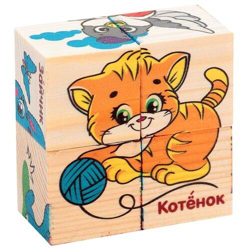 Купить Набор кубиков Учим животных , 4шт 2616973, Лесная мастерская, Детские кубики