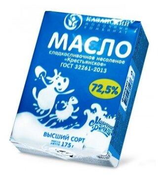 Молочная речка Масло сливочное Крестьянское 72.5%, 175 г