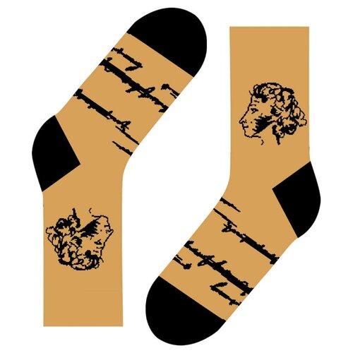 Фото - Носки St. Friday Пушкин, размер 38-41 , коричневый носки st friday египетская сила размер 38 41 белый коричневый желтый