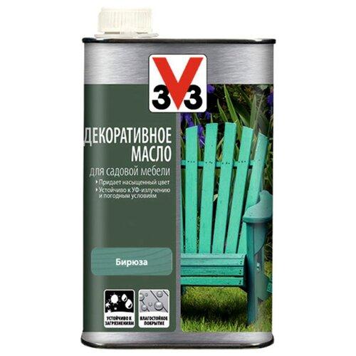 Масло V33 декоративное, для садовой мебели, бирюза, 0.5 л