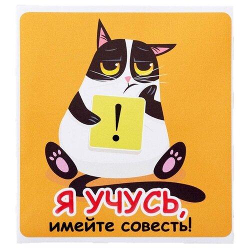 Декоративная наклейка Промтехнологии Наклейка на машину Я учусь, имейте совесть! (38421) оранжевый/белый/черный 1 шт.