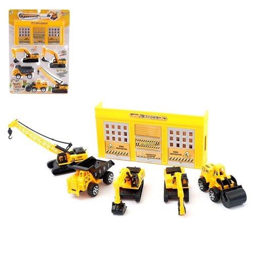 Купить Набор игровой «Стройка», 5 единиц техники + гараж 4441622, Сима-ленд, Машинки и техника