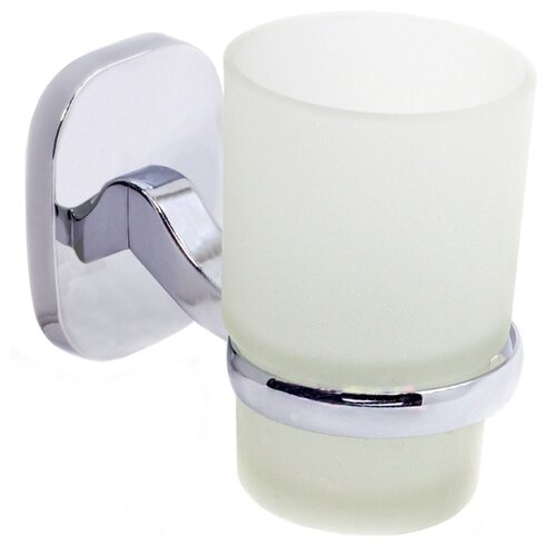 Стакан для зубных щеток Mr. Penguin Квадрат KL-1606 серебристый/белый