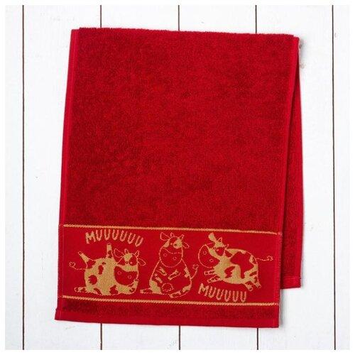 Этель полотенце Мuuu универсальное 30х70 см красный