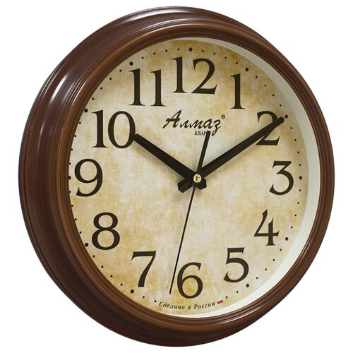 Часы настенные кварцевые Алмаз A59 коричневый/бежевый