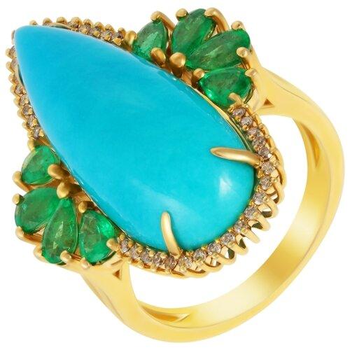 цена на JV Кольцо с бирюзой, изумрудами и бриллиантами из жёлтого золота MR86564-BR-EM-YG-KO-DN-EM-TQ-YG, размер 17.5