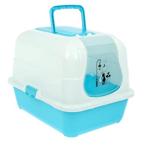 Туалет-домик для кошек Пижон 1391049\1391050\1391051 51.5х40х38.5 см голубой/белый