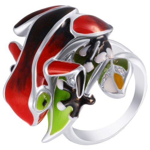 Фото - JV Серебряное кольцо с кубическим цирконием, эмалью SE1843-R-KO-ENAM-001-WG, размер 17.25 element47 кольцо из серебра 925 пробы с эмалью и кубическим цирконием ss b0935rb ko enam 001 wg размер 17 5