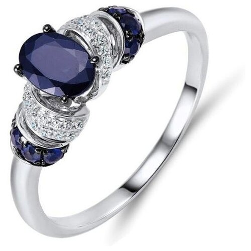 ЛУКАС Кольцо с сапфирами и бриллиантами из белого золота R01-D-R304114SAP, размер 16.5 фото