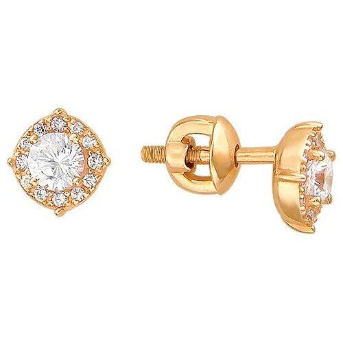 Эстет Серьги с фианитами и кристаллами swarovski из красного золота 01С119309 серьги с 8 кристаллами swarovski из красного золота