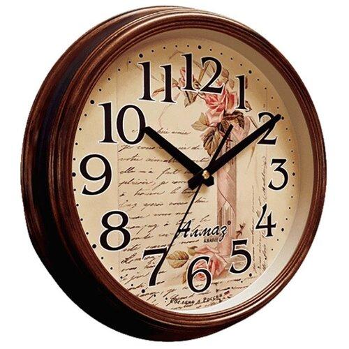 Часы настенные кварцевые Алмаз A42 коричневый/бежевый часы настенные кварцевые алмаз c25 розовый бежевый