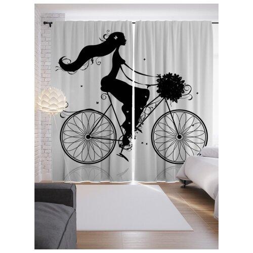 Портьеры JoyArty Девушка на велосипеде на ленте 265 см (p-61469)