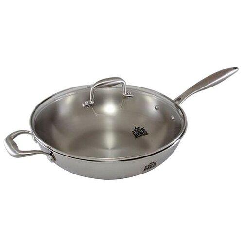 Сковорода-вок Stahlberg Kromwell 1613-S 32 см с крышкой, стальной сковорода вок oms 3228 24 r красный с антипригарным покрытием с крышкой диамтер 24 см