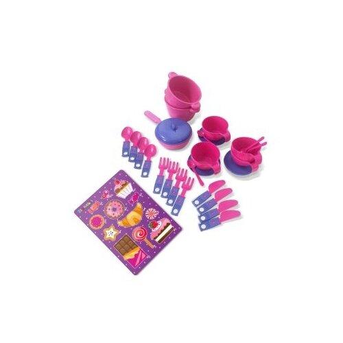 Купить Набор посуды ZEBRATOYS Чайный 15100371 розовый/фиолетовый, Игрушечная еда и посуда