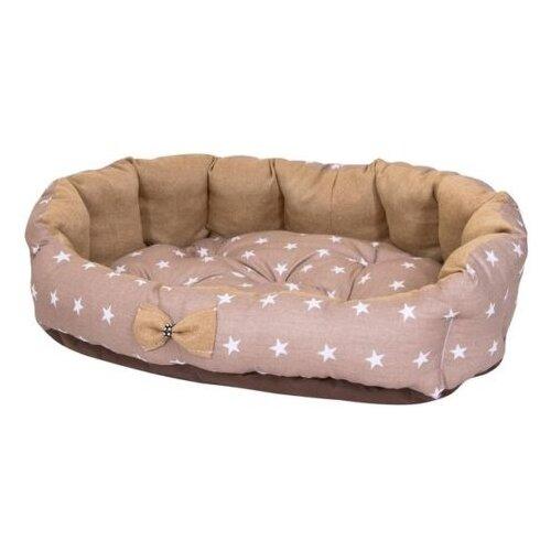 Лежак для собак и кошек HutPets MiniCot S 50х45 см coffee stars