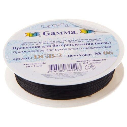 Купить Проволока для бисера Gamma , металл (цвет: черный), арт. DGB-2 06, 0, 2 мм x 50±2 м, Фурнитура для украшений