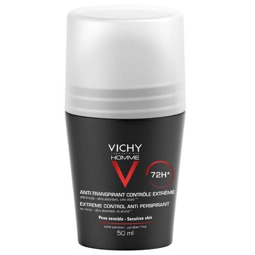 Дезодорант-антиперспирант ролик Vichy Homme против избыточного потоотделения 72 часа, 50 мл vichy комплект дезодорант антистресс 72 часа защиты 2 шт х 50 мл vichy deodorant