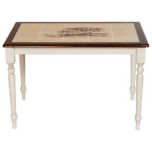 Стол кухонный TetChair CT 3045P, ДхШ: 115 х 76 см, Античный белый/Тёмный Дуб/рисунок дерево