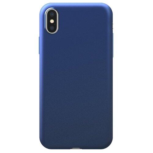 Чехол-накладка Deppa Silk Case для Apple iPhone X/Xs синий металлик чехол накладка deppa gel plus case матовый для apple iphone x xs розовое золото