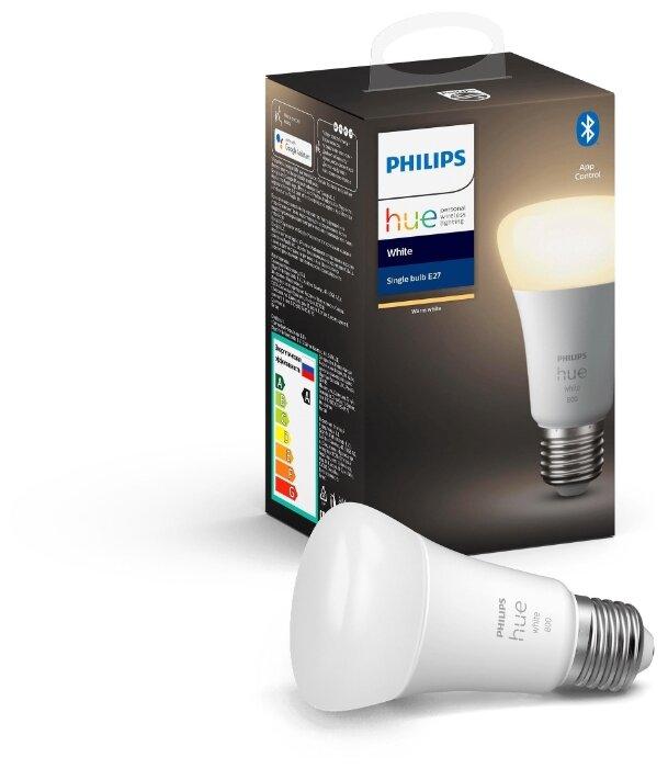Лампа светодиодная Philips Hue White, E27, A60, 9Вт фото 1