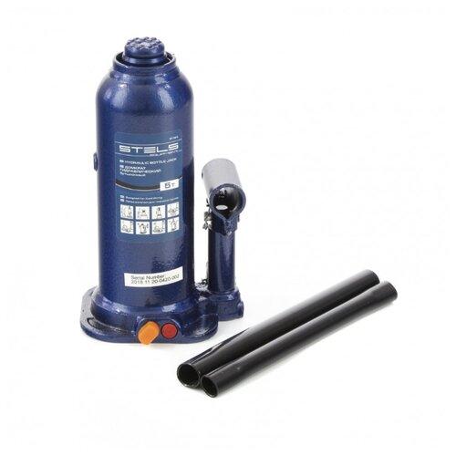 Домкрат бутылочный гидравлический Stels 51163 (5 т) синий