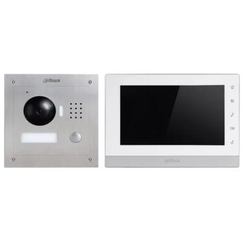 Комплектная дверная станция (домофон) Dahua DHI-VTK-VTO2000A-VTH1550CH(S) серебро (дверная станция) белый (домофон) видео домофон housing po