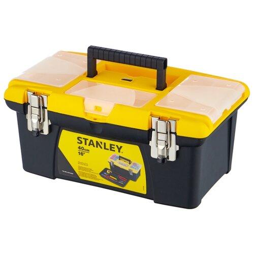 Ящик с органайзером STANLEY Jumbo 1-92-905 25.4x40.5x17.8 см 16'' черный/желтый ящик с органайзером stanley jumbo 1 92 906 27 6x48 6x23 2 см черный желтый