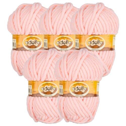 Купить Пряжа Adelia Dolly однотонная, 100 % полиэстер, 100 г, 40 м, 5 шт., №27 св. персиковый