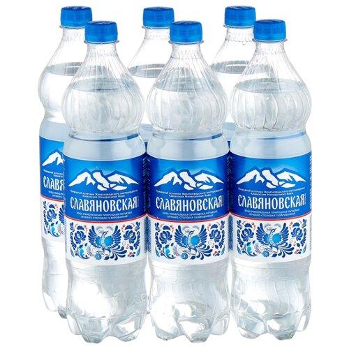 Вода минеральная Славяновская газированная, ПЭТ, 6 шт. по 1 л вода минеральная калинов родник газированная пэт 6 шт по 1 5 л