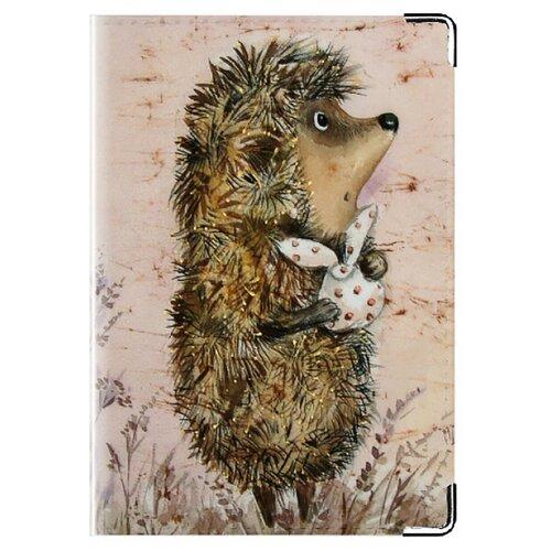Обложка для паспорта MADAPRINT Ёжичек 100% натуральная овечья кожа