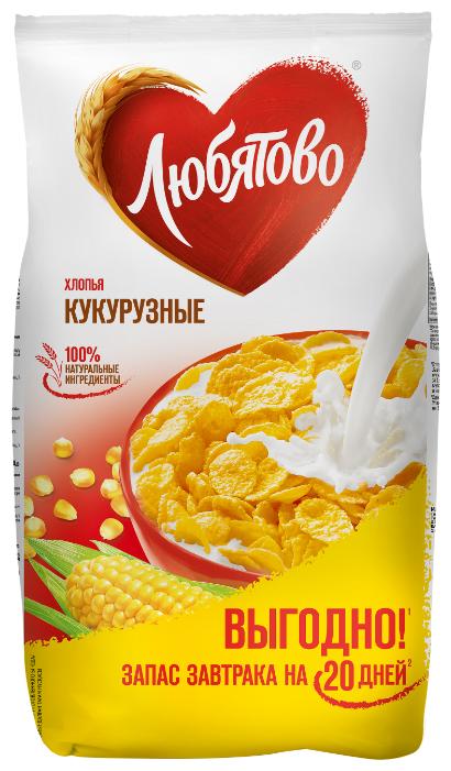 Купить Готовый завтрак Любятово Хлопья кукурузные, пакет, 600 г по низкой цене с доставкой из Яндекс.Маркета (бывший Беру)