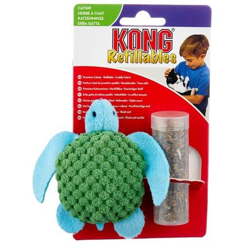 Набор игрушек для кошек KONG Черепашка с тубом кошачьей мяты (NT43E) голубой/зеленый фото